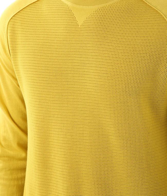 Paolo Pecora - Saldi - maglia girocollo con effetto rete giallo 1