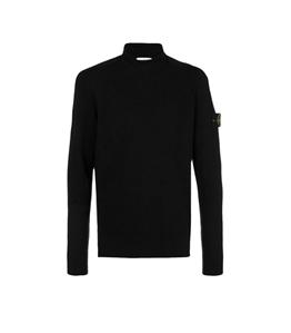 Stone Island - Maglie - maglia in lana collo lupetto nera