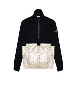 Stone Island - Maglie - maglia mezza zip iridescent coating tela preview nera