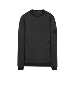 Stone Island - Felpe - felpa in lana girocollo ghost piece nera