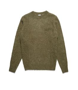 Aspesi - Maglie - maglia girocollo in lana shetland garzata muschio