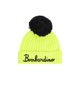 Mc2 Saint Barth - Cappelli - berretto misto cashmere giallo fluo con ricamo e pompon