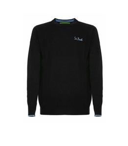 Mc2 Saint Barth - Maglie - maglione blu navy ricamo st. barth