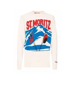 Mc2 Saint Barth - Maglie - maglione bianco stampa st. mortiz postcard