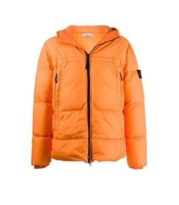 Stone Island - Giubbotti - giubbotto vera piuma garment-dyed arancio
