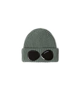 C.P. COMPANY - Cappelli - extra fine merino wool goggle beanie stone gray