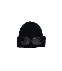 C.P. COMPANY - Cappelli - extra fine merino wool goggle beanie nero