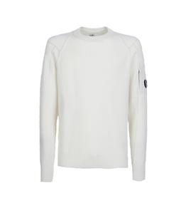 C.P. COMPANY - Felpe - lambswool crew neck knit bianco