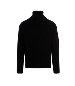 C.P. COMPANY - Maglie - lambswool roll neck knit nero