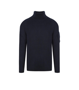 C.P. COMPANY - Maglie - merino wool roll neck knit sandshell total eclipse