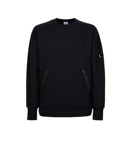 C.P. COMPANY - Felpe - diagonal raised fleece zip pocket sweatshirt nero
