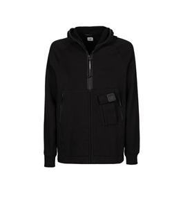 C.P. COMPANY - Felpe - metropolis series diagonal raised fleece zipped hoodie nero
