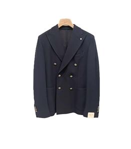 L.B.M.1911 - Giacche - giacca tom doppiopetto in jersey blu