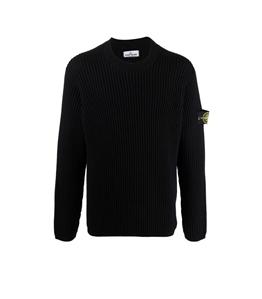 Stone Island - Maglie - maglia girocollo lana nera