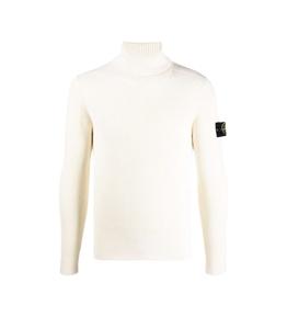 Stone Island - Maglie - maglia pura lana costa inglese bianco naturale