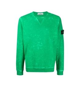 Stone Island - Felpe - felpa di cotone + trattamento off-dye ovd verde
