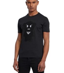 Emporio Armani - T-Shirt - t-shirt manga bear nera