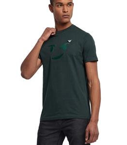 Emporio Armani - T-Shirt - t-shirt in jersey con stampa emoticon e spilla logo verde