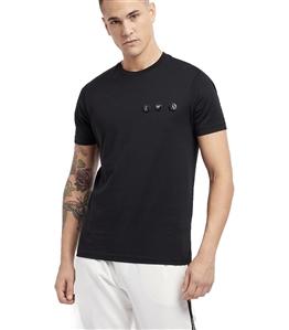 Emporio Armani - Outlet - t-shirt in jersey di cotone mercerizzato con spille logate nera