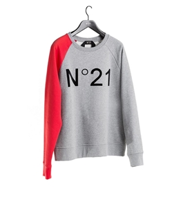 N°21 - Felpe - felpa bicolore con logo vellutato grigio melange
