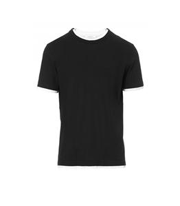 Paolo Pecora - T-Shirt - t-shirt con bordi a contrasto nera