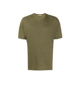 Roberto Collina - Maglie - t-shirt a righe verde oliva
