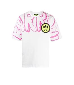 Barrow - T-Shirt - tshirt bianca con stampa rosa frontale