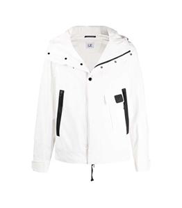 C.P. COMPANY - Giubbotti - giacca con zip e cappuccio bianca