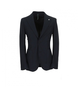 L.B.M.1911 - Giacche - giacca travel sport blu tessuto microlavorato