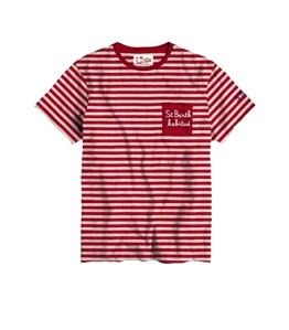 Mc2 Saint Barth - T-Shirt - tshirt righe bianco rosso habitue'