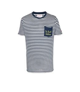 Mc2 Saint Barth - T-Shirt - tshirt righe bianco blu habitue'