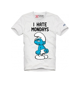 "Mc2 Saint Barth - T-Shirt - t shirt bianca ""i hate mondays"" - edizione speciale the smurfs®"