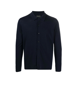 Roberto Collina - Maglie - maglia cardigan fine blu navy