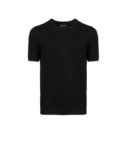 Roberto Collina - Maglie - tshirt con orlo a coste nera