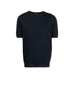 Roberto Collina - Maglie - tshirt con orlo a coste blu navy