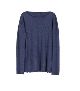 Roberto Collina - Maglie - maglia lino blu denim