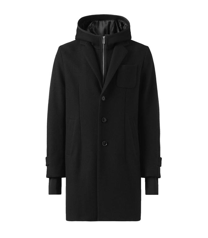 Emporio Armani - Giubbotti - cappotto in panno tecnico con cappuccio, pettorina con zip e polsini nero