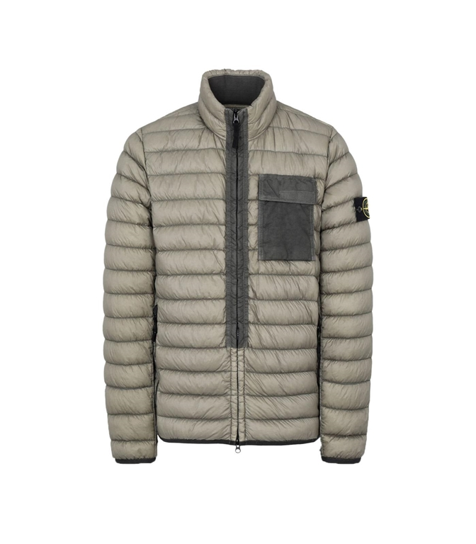 Stone Island - Giubbotti - GARMENT DYED MICRO YARN DOWN_PACKABLE VERDE OLIVA