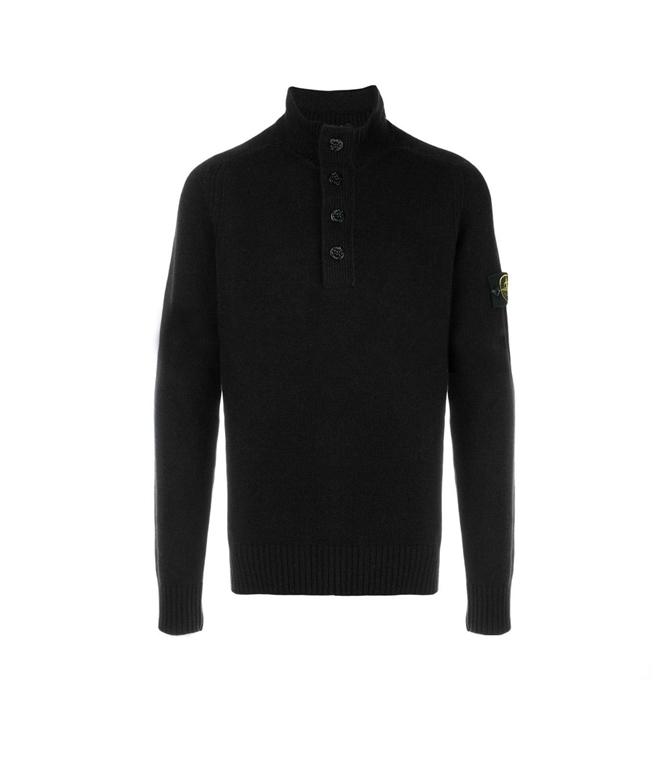 Stone Island - Maglie - maglia in lana 4 bottoni nera