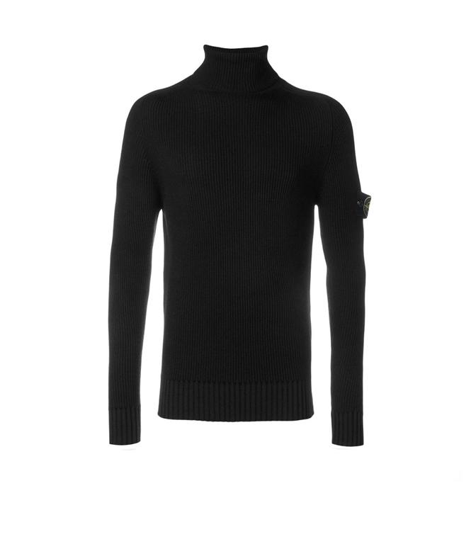 Stone Island - Maglie - maglia collo alto nera