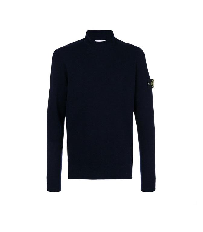 Stone Island - Maglie - maglia in lana collo lupetto blu