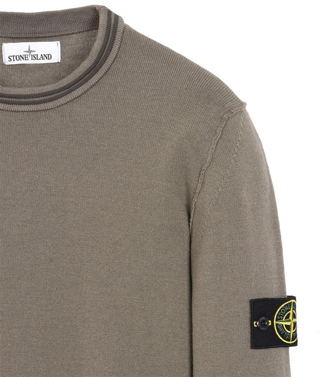 Stone Island - Maglie - maglia in lana girocollo verde oliva 1