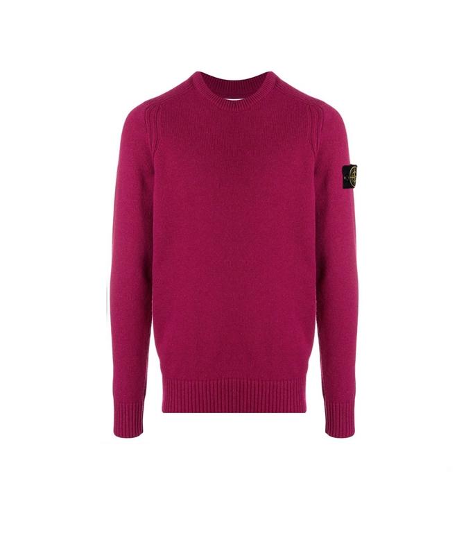 Stone Island - Maglie - maglia in lana girocollo granata