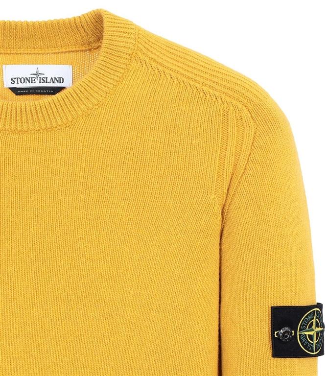 Stone Island - Maglie - maglia in lana girocollo senape 1