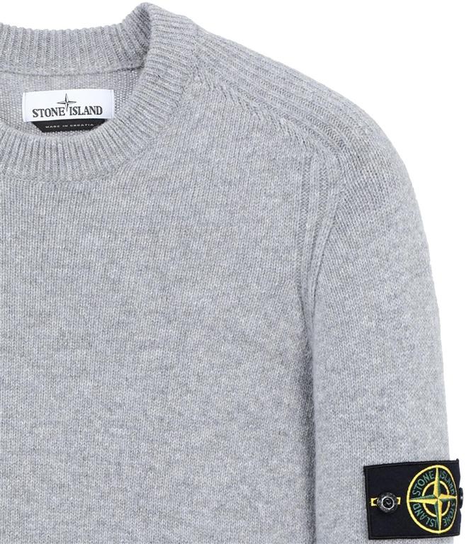 Stone Island - Maglie - maglia in lana girocollo grigio perla 1