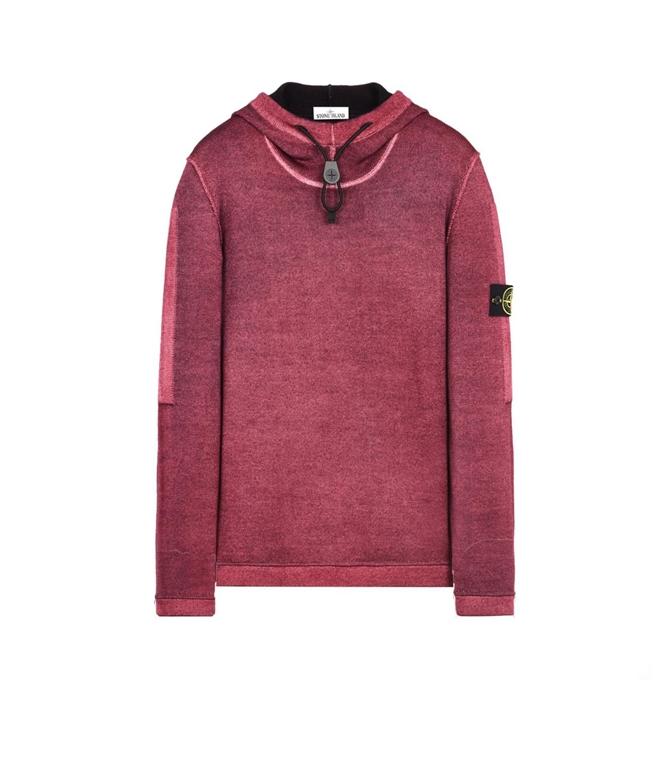 Stone Island - Maglie - maglia in lana fast dye + air brush granata