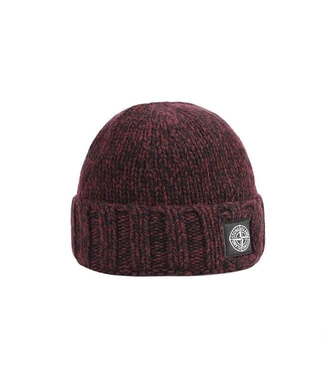Stone Island - Cappelli - berretto in lana granata