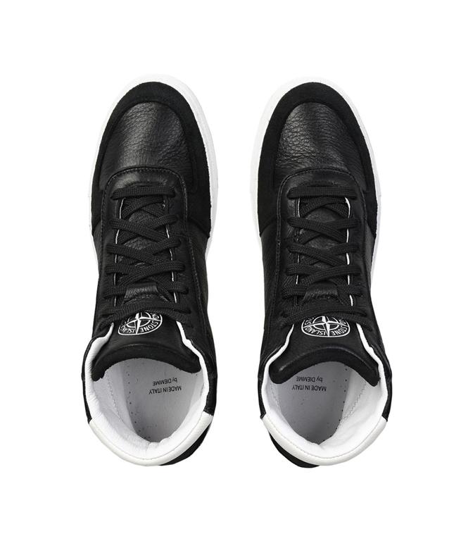 Stone Island - Scarpe - Sneakers - sneakers alte in pelle nere 1