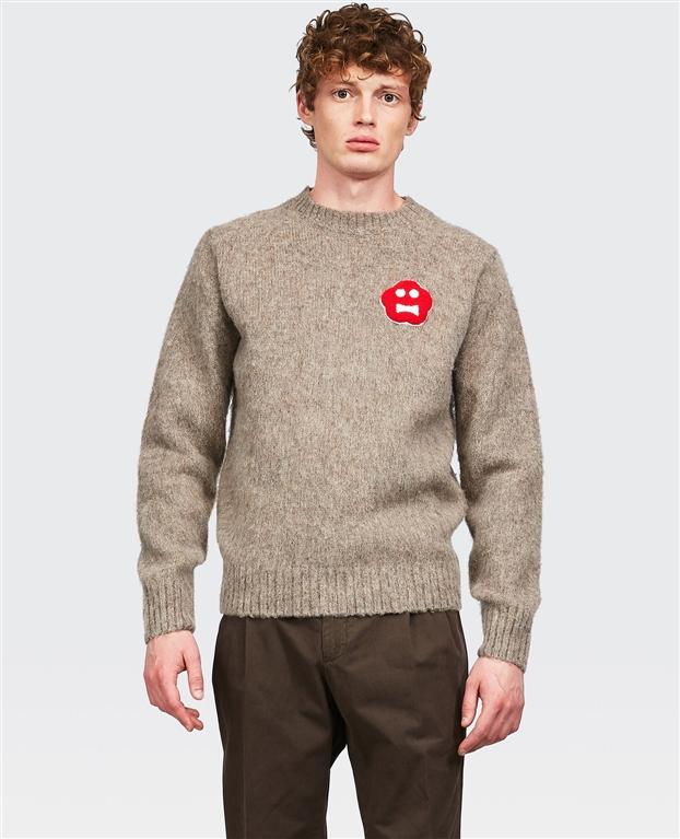 Aspesi - Maglie - maglia in lana con patch ginger bread beige 1