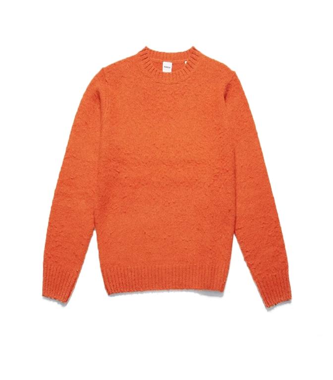 Aspesi - Maglie - maglia girocollo in lana shetland garzata arancio